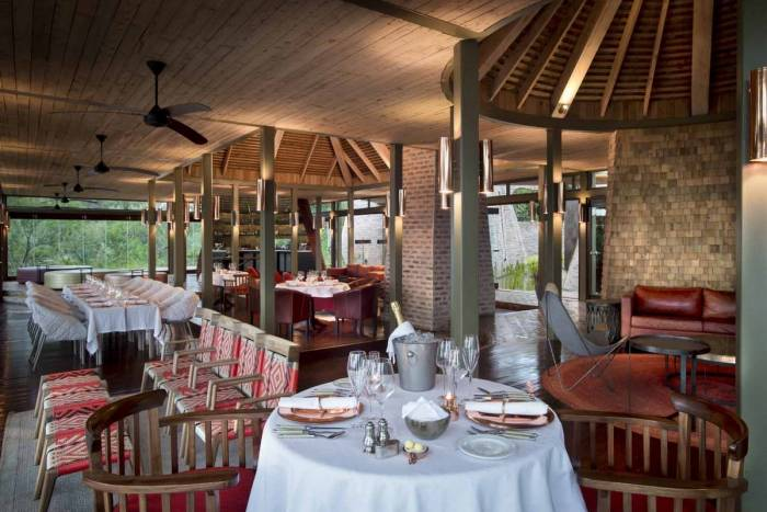 Guest Area set for dinner Angama Mara